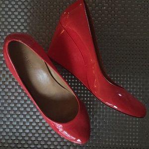 J Crew Sylvia wedge heels patent salmon pink 9.5